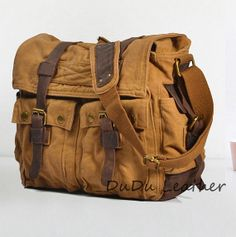 Men's Superior Genuine Cow Leather bag / Army by DuDuLeather, $49.99