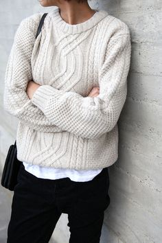 Layer a simple tshirt under a cable knit sweater in spring/autum. Layer a long 3/4 over the simple tshirt under the knit for winter.