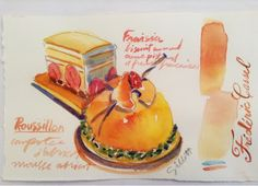 Gorgeous water colour by Carol Gillot of paris breakfasts: Frederic Cassel et le vrai Fontainebleau