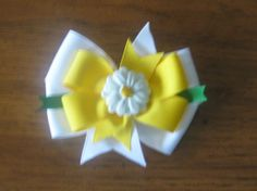 White and Yellow 4 Inch Daisy Pinwheel Style Hairbow by EmzBowz, $5.00