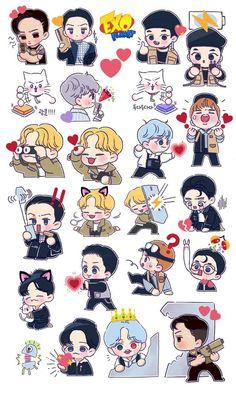Exo Stickers, Kawaii Stickers, Cute Stickers, Exo Kokobop, Kpop Exo, Exo Cartoon, Chibi, Exo Anime, Exo Fan Art