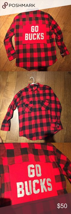 Ohio state university Spirit flannel Handmade. Black and red flannel with go bucks stitched on. Nike Tops