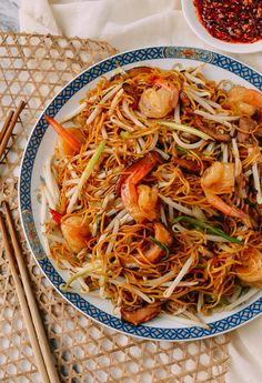 Hong Kong Style Shrimp Chow Mein Noodles, by thewoksoflife.com