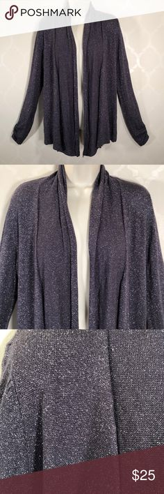 ANN TAYLOR LOFT SPARKLE CARDIGAN Ann Taylor Loft Sweater ➖ Charcoal with Silver Sparkle ➖ Long Sleeves have pretty gathers at hemline ➖ Open Front ➖ Shawl Collar ➖ NWOT LOFT Sweaters Cardigans