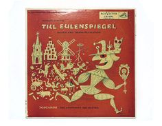 "Jim Flora record album design, 1955. Richard Strauss ""Till Eulenspiegel"" LP on Etsy, $59.41 AUD"