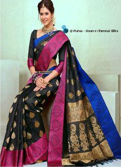 ❀Purva❀  - Black and Pink - Silk Saree - Source - The Chennai Silks