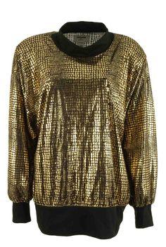 Pull doré oversize 80's chez Be Bop and Lula Boutique de vêtements vintage en ligne Livraison gratuite à partir de 75€ Showroom à Lille au 23 rue Jacquemars Giélée, métro République.