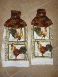ROOSTERS - Kitchen Decor Hanging HAND TOWELS - proceeds support our TROOPS