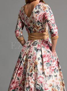 Bohemian Dress Round Collar Bowknot Belt Maxi Dresses Printing Long O-neck Sleeve Big Hem Autumn Winter Elegant Casual Lovely Dresses, Elegant Dresses, Casual Dresses, Fashion Dresses, Maxi Dresses, Floral Fashion, Long Dresses, Indian Gowns Dresses, Hippie Dresses