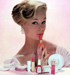 Avon girl. Lipsticking. Fifties.