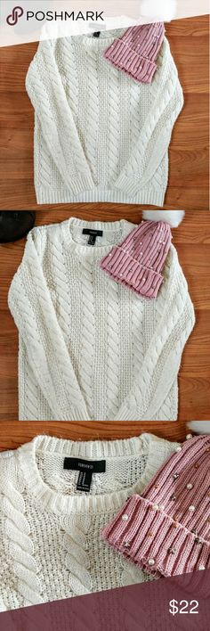 F21 Cable Knit Sweater F21 Cream colored cable knit sweater. Size M like new , no flaws. Super warm and cozy! Forever 21 Sweaters