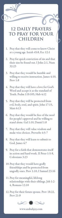 12 Prayers For Your Children  #prayers #prayersforfamily #prayersforchildren #prayingscripture #freeprintable Printable Bookmarks, Free Printable, Pray For Children, Scriptures For Children, Prayers For Kids, Powerful Scriptures, Powerful Prayers, Prayer For Baby, Prayer For You