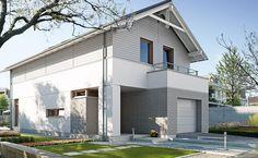 Współczesny 1 - wizualizacja 1 - Projekty nowoczesnych domów na wąska działkę z wiatą garażową