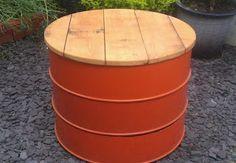Oil Drum table/stool - sculpture , designer lighting, nick page Oil Barrel, Metal Barrel, Barrel Bbq, Drum Chair, Drum Table, Barrel Projects, Metal Projects, Metal Crafts, Table Tambour