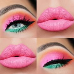 Pink And Green Eyeshadow With Bold Black Eyeliner ★ Simple and c. - Pink And Green Eyeshadow With Bold Black Eyeliner ★ Simple and creative makeup ideas for gorgeous looks. Bring your blue eyeshadow and pink lipstick game to a new level. Mint Makeup, Retro Makeup, Colorful Eye Makeup, 80s Eye Makeup, Face Makeup, Bright Eye Makeup, Prom Makeup, Eyebrow Makeup, Barbie Makeup