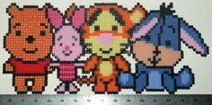 Pooh, Piglet, Tigger, and Eeyore Disney hama perler beads Melty Bead Patterns, Pearler Bead Patterns, Perler Patterns, Beading Patterns, Perler Beads, Perler Bead Art, Fuse Beads, Beaded Cross Stitch, Cross Stitch Patterns