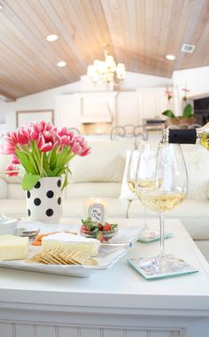 Entertaining at Home - So light & pretty! Love the polka dots with the pink tulips!
