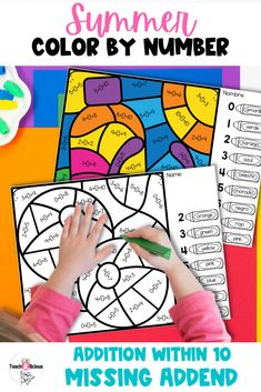 Want a fun way to practice addition within 10 with addend unknown this summer? Then this color by number printable is just what you are looking for. These worksheets for kids are bilingual and perfect for Kindergarten and first grade students.