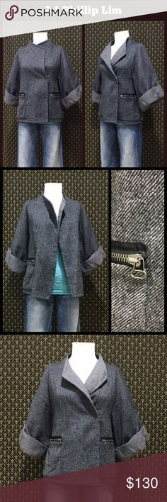 3.1 Phillip Lim Wool Herringbone Jacker Wool herringbone shell, lined, elbow length wide cuffed sleeves, eyehook front closure, zip closure on front side pockets.  Excellent used condition.  No flaws/signs of wear.  Relaxed fit 3.1 Phillip Lim Jackets & Coats