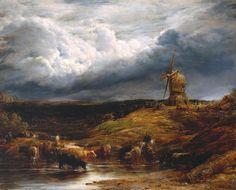John Linnell – Landscape ('The Windmill'), 1845; Oil on canvas, 381x457 mm | Tate