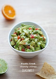 Ingredients  5 avocados, chopped  1/3 cup white onion, diced  1/3 cup tomato, diced  2 cloves garlic, minced  1 jalapeno, seeds and veins removed and finely diced  1 lime, juiced (1/8 cup)  1 small orange, juiced (1/4 cup)  1/4 teaspoon chili powder  1/…