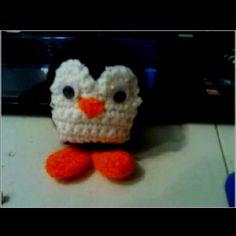 Crocheted penguin.