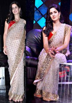 #Katrina kaif style white #bollywood #saree