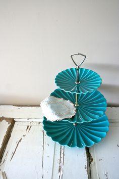 RESERVED vintage tidbit tray: california pottery teal 3-tier trays. $72.00, via Etsy.