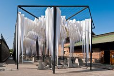 """GUN architects: water cathedral in Santiago, Chile. Water-filled fabric components create the structure, and concrete """"stalagmites"""" below serve as benches. AMAZING."""