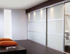 Custom door, polar white glass with silver aluminium frame. #slidingdoors #doorsdirectuk
