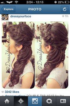 Super-like - bridesmaid hair idea for Mara's wedding? Long hair, curls, braid on top