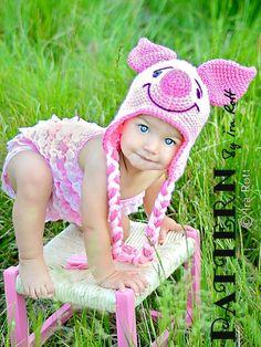 Pinky Piglet Animal Hat PDF Crochet Pattern