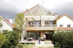 The backside of Djuric Tardio Architects' sustainable house in Paris, France.