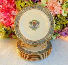 7 Beautiful Lenox Porcelain Salad Plates ~ Autumn ~ Enameled Fruit Flowers Gold #Lenox