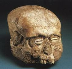 Human skull, originally plastered and painted. From the Neolithic settlement at Jericho, c.7000 BC. One of several from the site, all were found with bivalve shells inset for the eyes, except for this example with cowrie shells. This is thought by some to be one of the earliest human portraits and probably relates to a form of ancestor veneration. Excavated in 1955 at Jericho by Dame Kathleen Kenyon. Ashmolean Museum