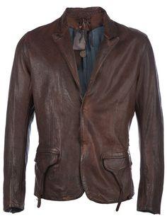 Brown leather blazer from Un Solo Mondo
