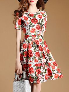 a483aa9afa7 Shop Rose Print Mesh A-line Dress online. SheIn offers Rose Print Mesh A-line  Dress   more to fit your fashionable needs.