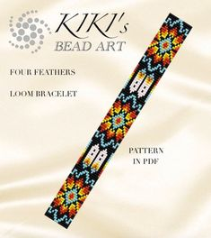 Bead loom pattern Four feathers ethnic inspired LOOM Loom Bracelet Patterns, Bead Loom Bracelets, Bead Loom Patterns, Beading Patterns, Loom Hats, Beaded Hat Bands, Tear, Seed Bead Jewelry, Loom Beading