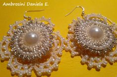 Handmade earrings to Tatting and BrickStitch. by AmbrosiniShop,