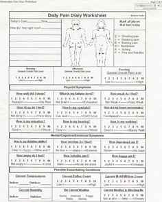 Pain diary worksheet Make copies, date & fill out daily, place in a binder- take to your Dr appointments.