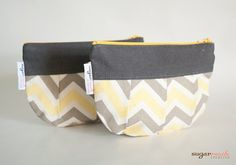 Zoom Zoom Sunny Chevron Makeup bag by sugarrushcreative on Etsy, $12.00