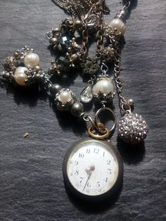 antique pocket watch pearl assemblage necklace, unique upcycled statement jewelry, large beaded chunky necklace, time worn vintage, Old Pocket Watches, Pocket Watch Antique, Beaded Statement Necklace, Rhinestone Necklace, Pocket Watch Necklace, Bracelet Watch, Gold Hands, Unique Necklaces, Vintage Rhinestone