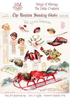 Wings of Whimsy: 1896 Boston Sunday Globe - The Little Coasters #freebie #printable #ephemera #christmas #victorian