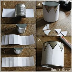 make crowns out of tin cans - Basteln - Handmade Home, Handmade Crafts, Diy And Crafts, Handmade Rugs, Tin Can Lanterns, Soda Can Crafts, Aluminum Can Crafts, Altered Tins, Altered Art