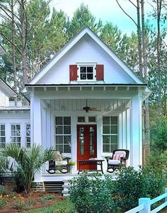 Tiny Romantic Cottage House Plan | plete with comfortable outdoor seating and a small table for morning ...