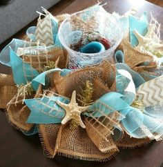 Beach / Coastal Inspired Deco Mesh & Burlap by SecondNatureWreaths