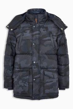 Купить Синяя удлиненная дутая куртка с камуфляжным рисунком (3-16 лет) from Next Russia