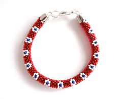 Bead Crochet Rope Bracelet in Red, White and Blue. Patriotic Bangle.