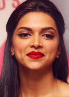 Deepika Padukone #redlips #wingedeyeliner