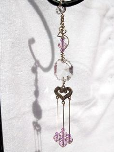 Crystal Prism with Pink Swarovski Crystals and Gold Heart Sun Catcher | MumgoDesigns - Housewares on ArtFire